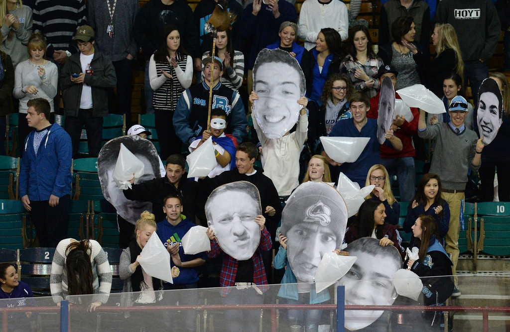 . Ralston Valley High School students cheer the team during Colorado High School State Championship Hockey game against Monarch High School at the Denver Coliseum. Denver, Colorado. March 1, 2014. Ralston Valley won 4-1. (Photo by Hyoung Chang/The Denver Post)