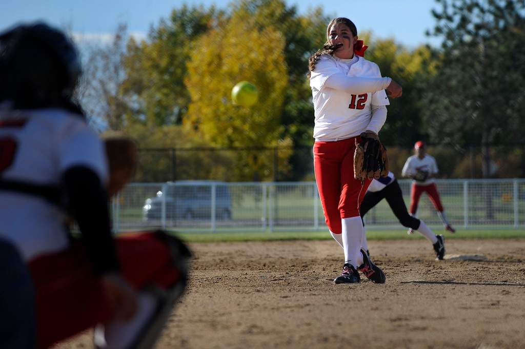 . AURORA CO: Oct. 19, 2013  Brighton pitcher Melissa Rahrich throws the ball over home. The 5A softball quarterfinals were held at the Aurora Sports Park on Oct. 19, 2013.   (Photo By Erin Hull/The Denver Post)