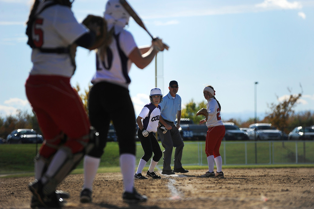 . AURORA CO: Oct. 19, 2013  Douglas County took on Brighton during the 5A softball quarterfinals at the Aurora Sports Park on Oct. 19, 2013.   (Photo By Erin Hull/The Denver Post)