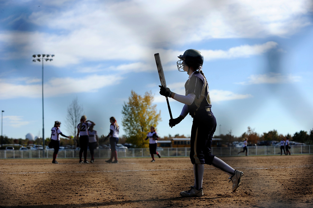. AURORA CO: Oct. 19, 2013  Legacy High School junior Alyssa Geist heads to bat against Dakota Ridge. The 5A softball quarterfinals were held at the Aurora Sports Park on Oct. 19, 2013.   (Photo By Erin Hull/The Denver Post)