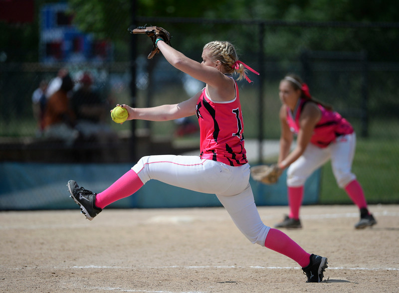 . Colorado Styxx pitcher, Ally Power, Ponderosa High School, pitches against the Louisville Lady Sluggers during the Colorado Sparkler, Junior Sparkler and Fireworks girls fast pitch club softball tournament at the Aurora Sports Park Wednesday afternoon, July 02, 2014, (Photo By Andy Cross / The Denver Post)