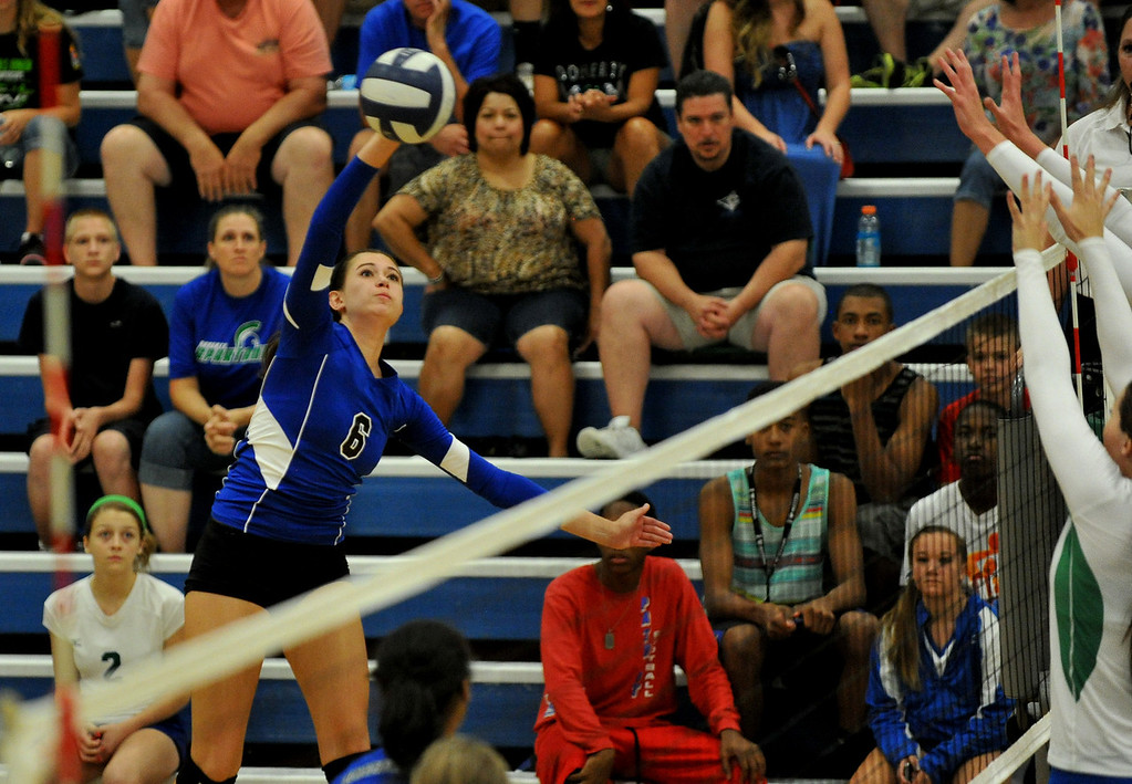 . COLORADO SPRINGS, CO - August 31 : Tara Stilwell of Grandview High School (6) is in action during the game against Doherty High School at Doherty High School Gym. Colorado Springs, Colorado. August 31, 2013. (Photo by Hyoung Chang/The Denver Post)