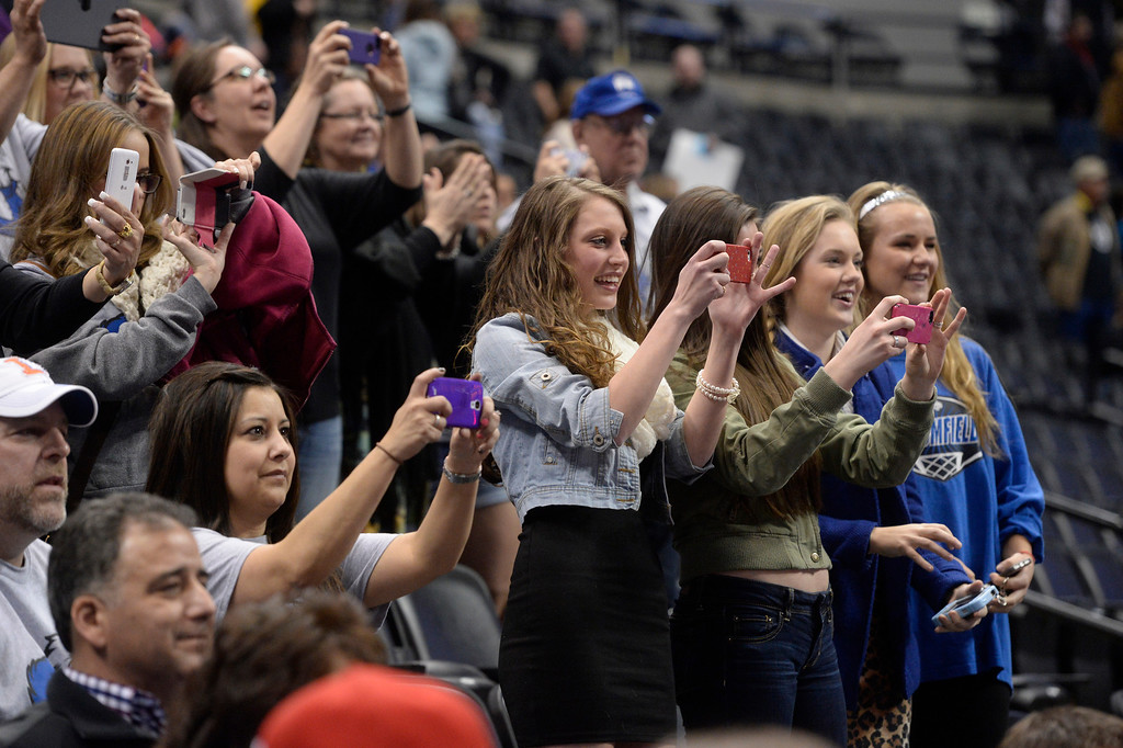 . DENVER, CO - FEBRUARY 22: Fans watch the final matches at the championship tournament. The Colorado Wrestling Tournament was held at the Pepsi Center in Denver, Colo. on February 22, 2014. (Photo by Andy Cross/The Denver Post)