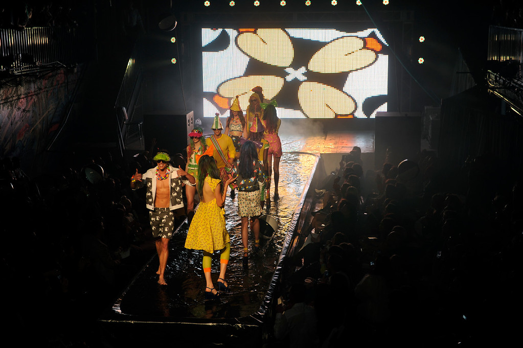 . DENVER, CO. - APRIL 11:  Models hit the watery runway with creations from Denver designer Mondo Guerra Thursday night. Denver Fashion Weekend kicked off with a runway show at City Hall Amphitheater Thursday night, April 11, 2013 with works from Piazza, 50, Covello, Incroyables, Rachel Hurst, Fallene Wells, and Mondo Guerra. Photo By Karl Gehring/The Denver Post)