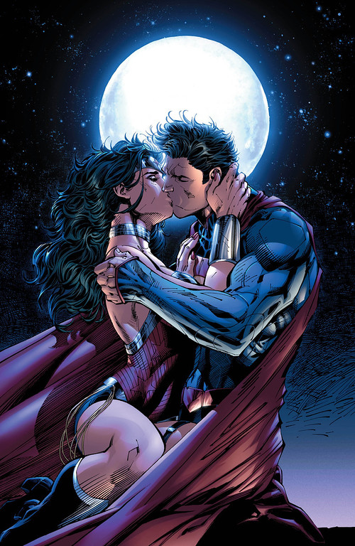 ". This comic book image released by DC Entertainment shows Wonder Woman and Superman kissing from the ""Justice League 12\"" issue. Wonder Woman and Superman are officially an item, locking lips in a passionate embrace as the pair realize that there\'s no one out there like them. The couple\'s kiss is the culmination of a dramatic story in \""Justice League\"" No. 12 which marks the first full year since DC relaunched its stable of heroes with new stories, new costumes and revised origins. (AP Photo/DC Entertainment)"