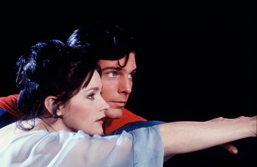 ". Actor Christopher Reeve, as Superman, and Margot Kidder, as Lois Lane, are shown in a scene from the 1978 movie ""Superman.\""  (AP Photo/TMS & DC Comics Inc.)"
