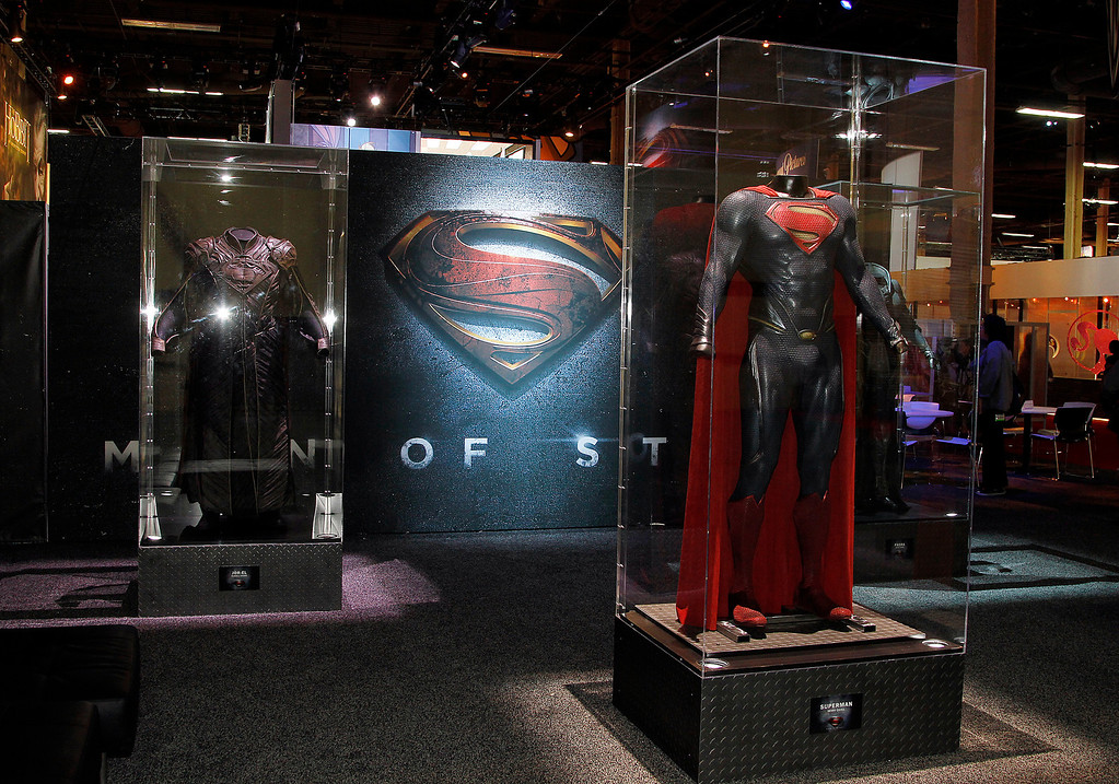 ". Costumes from the highly anticipated theatrical film ""Man of Steel\"" are on display at the Warner Bros. Consumer Products\' booth at Licensing Expo 2012 on Tuesday, June 12, 2012 in Las Vegas. The costumes displayed include Superman (worn by Henry Cavill), Jor-El (worn by Russell Crowe) and Faora (worn by Antje Traue). (Photo by Isaac Brekken/Invision for Warner Bros. Consumer Products/AP Images)"