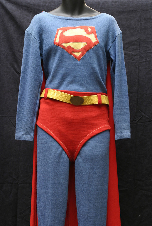 . The Superman costume George Reeves wore in the \'50s TV show is shown July 30, 2003 in Beverly Hills, California.  (Photo by Giulio Marcocchi/Getty Images)