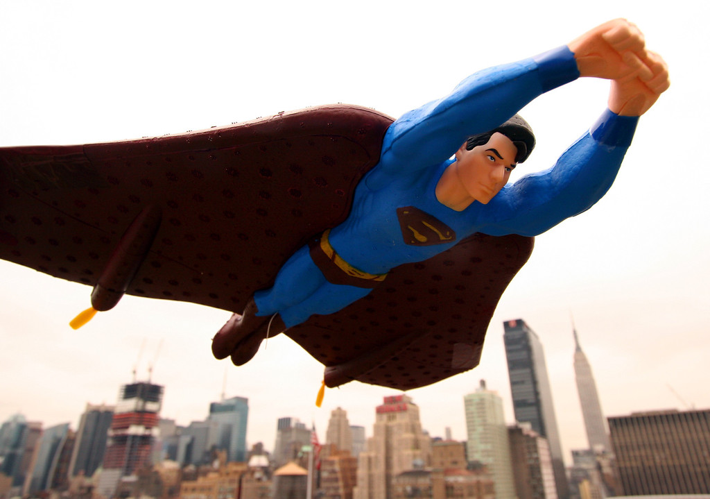 . A radio-controlled 16-inch Superman is posed Wednesday, May 10, 2006 in New York. (AP Photo/Mark Lennihan)