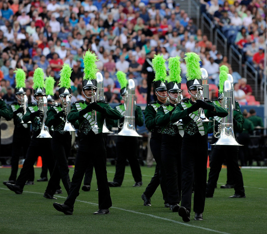 . DENVER, CO. - JULY 6:  The Cascades of Seattle, WA performed an original piece Saturday night. The nation\'s top drum and bugle corps entertained a crowd and battled for top honors at the Drums Along the Rockies competition at Sports Authority Field Saturday July 6, 2013. Photo By Karl Gehring/The Denver Post