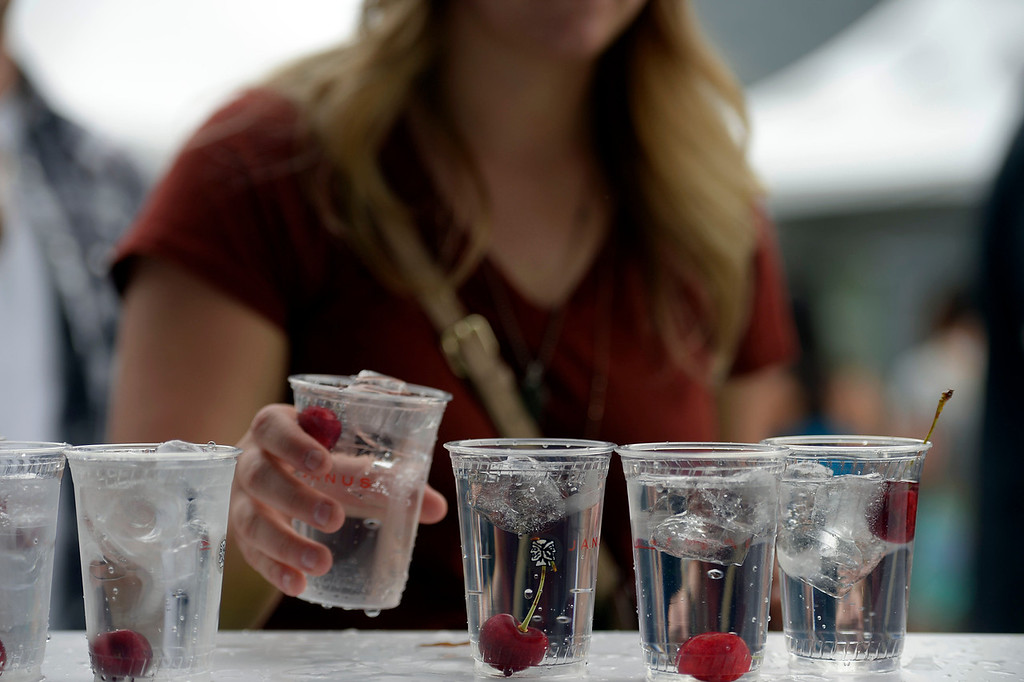 . Water with a cherry in it at the Cherry Creek Arts Festival June 7, 2013 in Cherry Creek North. The festival has been going on for three days during the July 4th holiday weekend since 1991, Colorado\'s signature cultural event. (Photo By John Leyba/The Denver Post)