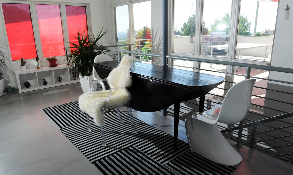 . The top floor of the home is bathed in natural light. Red sun shades also cast a relaxing, rosy hue. (Photo By Cyrus McCrimmon/The Denver Post)