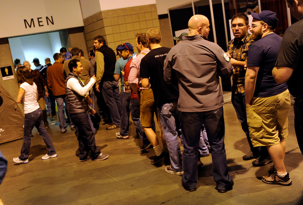 . DENVER, CO. - OCTOBER 12: The inevitable consequences of unlimited beer manifested were apparent outside the restrooms with long lines as thousands of beer fans flocked to the Great American Beer Festival at the Colorado Convention Center Saturday afternoon, October 12, 2013. Photo By Karl Gehring/The Denver Post