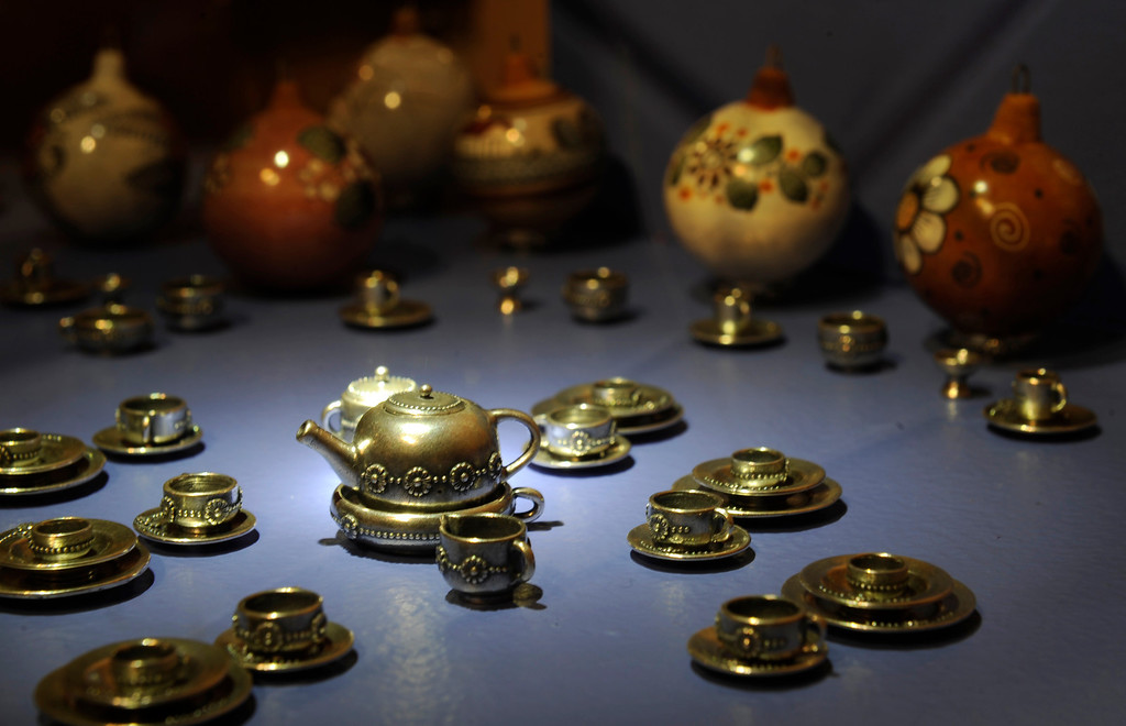 """. A miniature silver tea set by Sergio Pérez Arana on display at the new exhibit \""""La Cocina\"""" at the Museo de las Americas on Tuesday, October 8, 2013. The exhibit opens October 17th. (Photo By Cyrus McCrimmon/ The Denver Post )"""