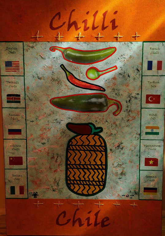 """. Painting by Oliverio Balcells from the series  \""""From Mexico to the World\"""" on display at the new exhibit \""""La Cocina\"""" at the Museo de las Americas on Tuesday, October 8, 2013. The exhibit opens October 17th. (Photo By Cyrus McCrimmon/ The Denver Post )"""