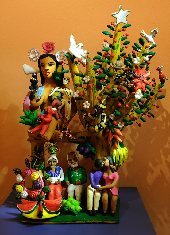 """. Artwork \""""Tree of Life\"""" by Oaxacan artist Irene Aguilar on display at the new exhibit \""""La Cocina\"""" at the Museo de las Americas on Tuesday, October 8, 2013. The exhibit opens October 17th. (Photo By Cyrus McCrimmon/ The Denver Post )"""
