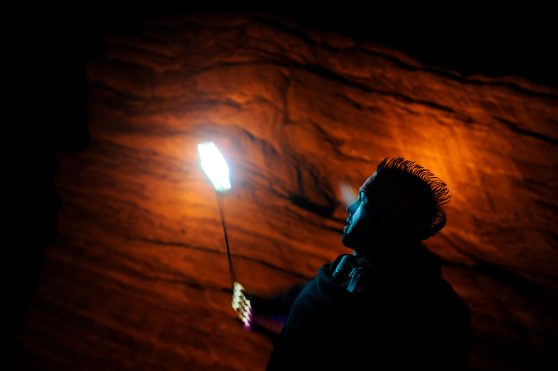 . Josh Logue, 28, of Ft Collins, Colorado twirls a light on a string for fellow concert goers as Crizzly performs during the Global Dub Festival at Red Rocks Amphitheatre on May 16, 2014 in Morrison, Colorado. (Photo by Seth McConnell/The Denver Post)