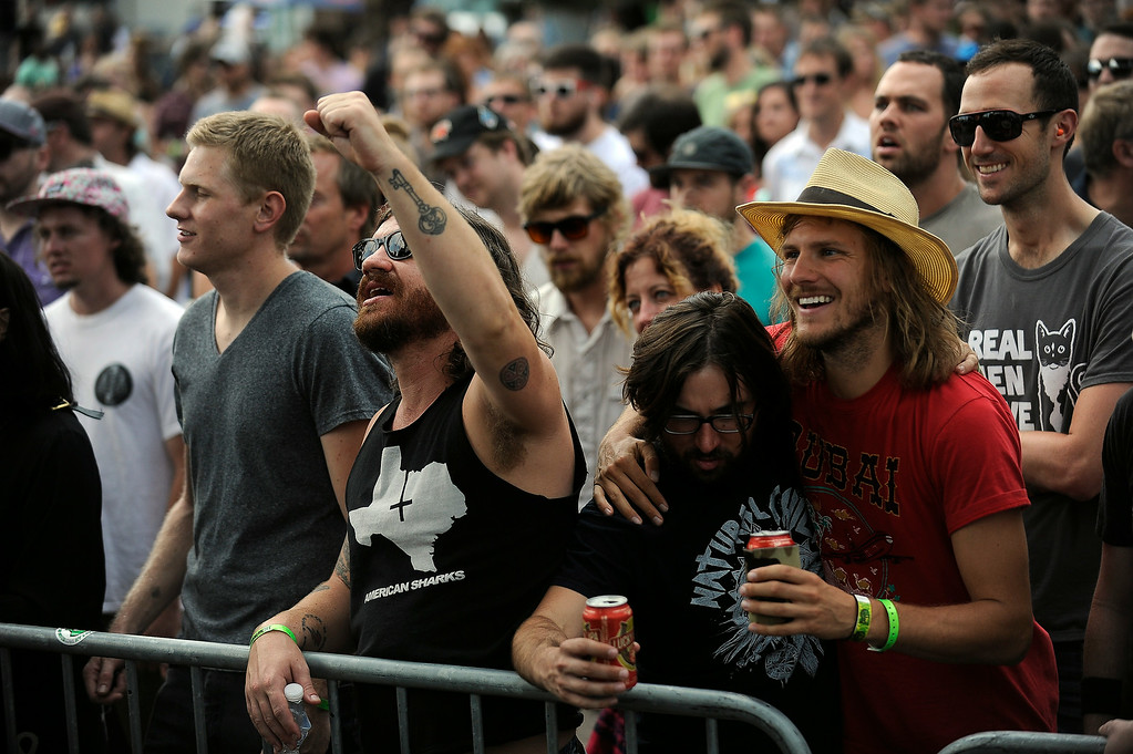 . Fans cheer as Residual Kid performs on the Main Stage during the Underground Music Showcase on July 27, 2014 in Denver, Colorado. (Photo by Seth McConnell/The Denver Post)