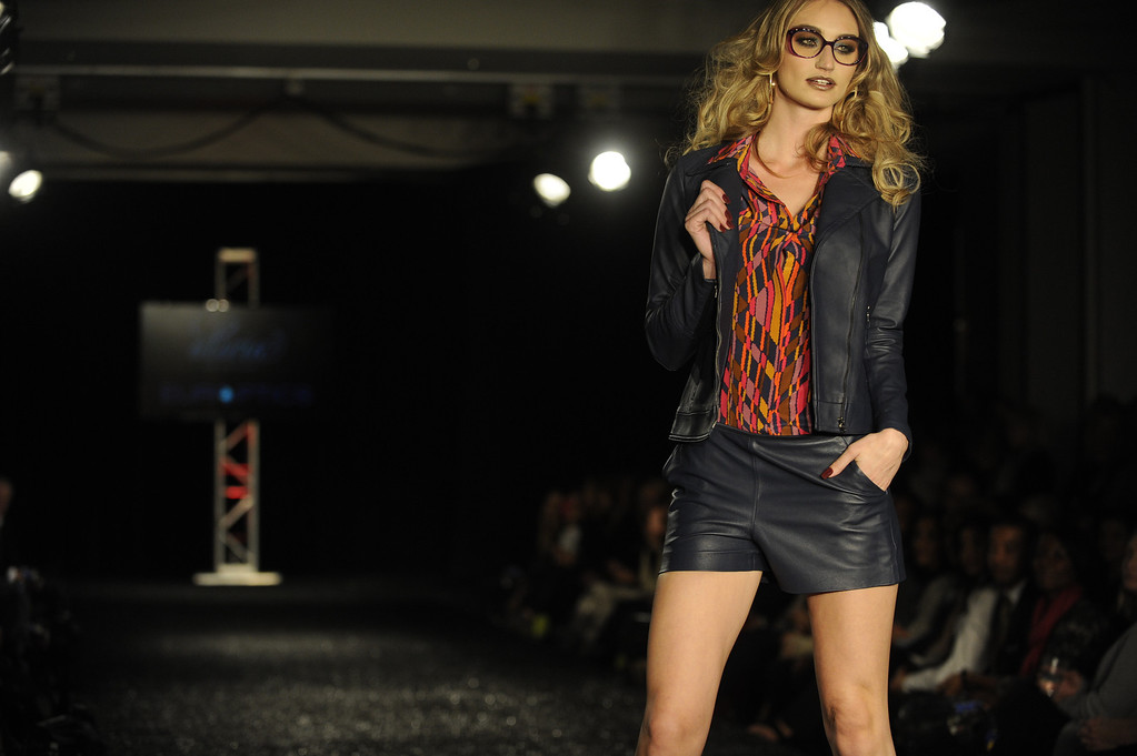 . DENVER, CO - OCTOBER 18 :   A model wears Alicia, The Boutique  fashion   and Europtics eyewear at the Celebrate Fashion in Cherry Creek North  Show. It  was held at the JW Marriott  Denver on Friday, October 18, 2013.   (Photo By Cyrus McCrimmon/ The Denver Post )