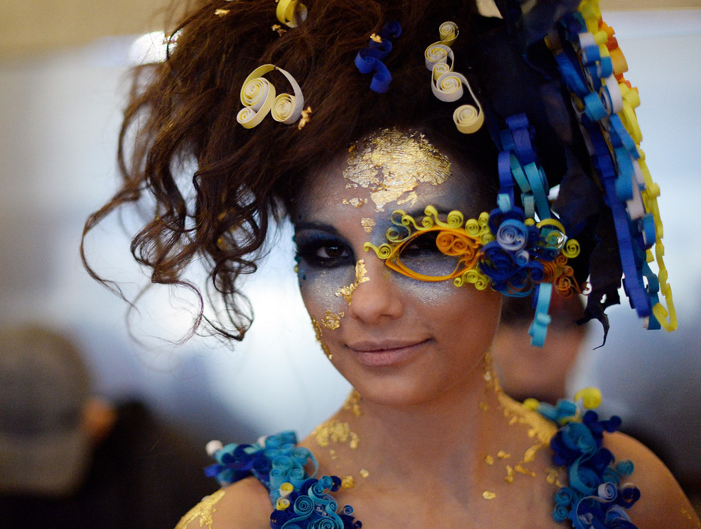. DENVER, CO - MARCH 7 :     Model Athina Hinojosa  in her Starry Night fashion  by the Garage Maidens backstage before the 10th annual  Art Directors Club of Denver Paper Fashion Show  which was held at the Seawell Grand  Ballroom at the Denver Center for Performing Arts on Friday, March 7, 2014. (Denver Post Photo by Cyrus McCrimmon)