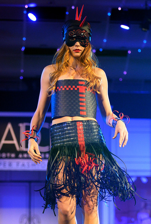 """. DENVER, CO - MARCH 7 :   \""""Futuristic Warrior\"""" modeled by Alyssa Campbell at  the 10th annual  Art Directors Club of Denver Paper Fashion Show was held at the Seawell Grand  Ballroom at the Denver Center for Performing Arts on Friday, March 7, 2014. (Denver Post Photo by Cyrus McCrimmon)"""