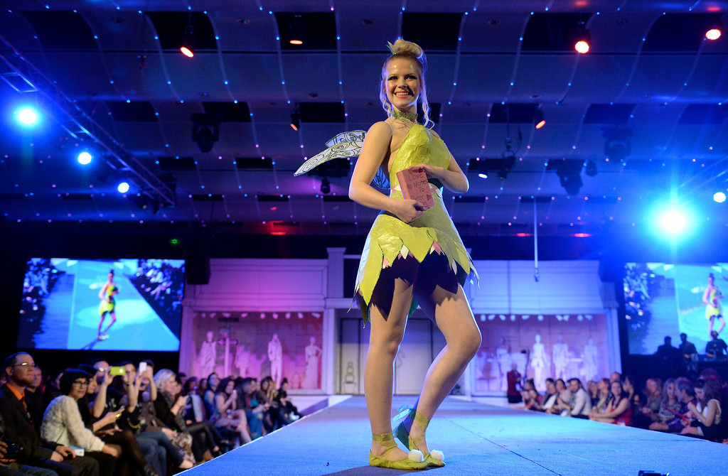 """. DENVER, CO - MARCH 7 : \""""Flowering Tinkerbell\"""" by Denver School of the Arts with model Kady Turner at    the 10th annual  ADCD Paper Fashion Show which  was held at the Seawell Grand  Ballroom at the Denver Center for Performing Arts on Friday, March 7, 2014. (Denver Post Photo by Cyrus McCrimmon)"""