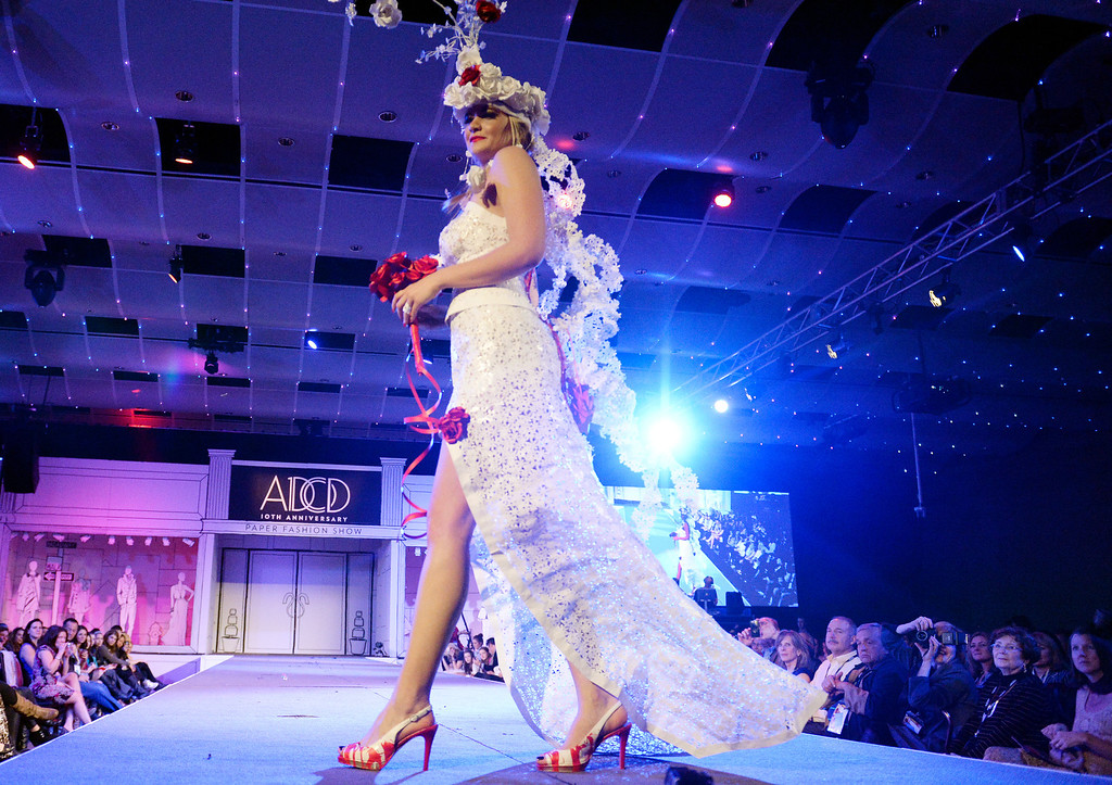 """. DENVER, CO - MARCH 7 :  \""""Love Is In The Air\""""  design at  the 10th annual  ADCD Paper Fashion Show which  was held at the Seawell Grand  Ballroom at the Denver Center for Performing Arts on Friday, March 7, 2014. (Denver Post Photo by Cyrus McCrimmon)"""