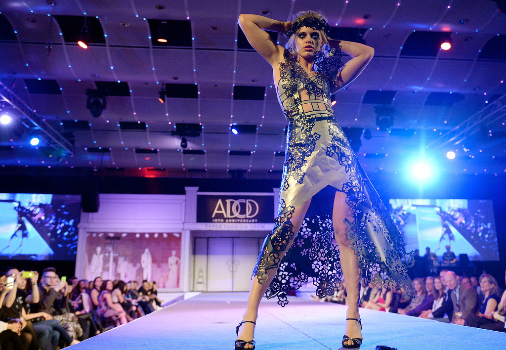 """. DENVER, CO - MARCH 7 :  Korinn Gubbels models \""""Decayed Beauty\""""  by The Seventh Guilt  at  the 10th annual  ADCD Paper Fashion Show which  was held at the Seawell Grand  Ballroom at the Denver Center for Performing Arts on Friday, March 7, 2014. (Denver Post Photo by Cyrus McCrimmon)"""