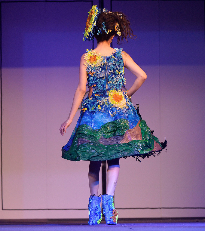 """. DENVER, CO - MARCH 7 :  \""""A Starry Night\"""" by the Garage Maidens  at the 10th annual  Art Directors Club of Denver Paper Fashion Show which  was held at the Seawell Grand  Ballroom at the Denver Center for Performing Arts on Friday, March 7, 2014. (Denver Post Photo by Cyrus McCrimmon)"""