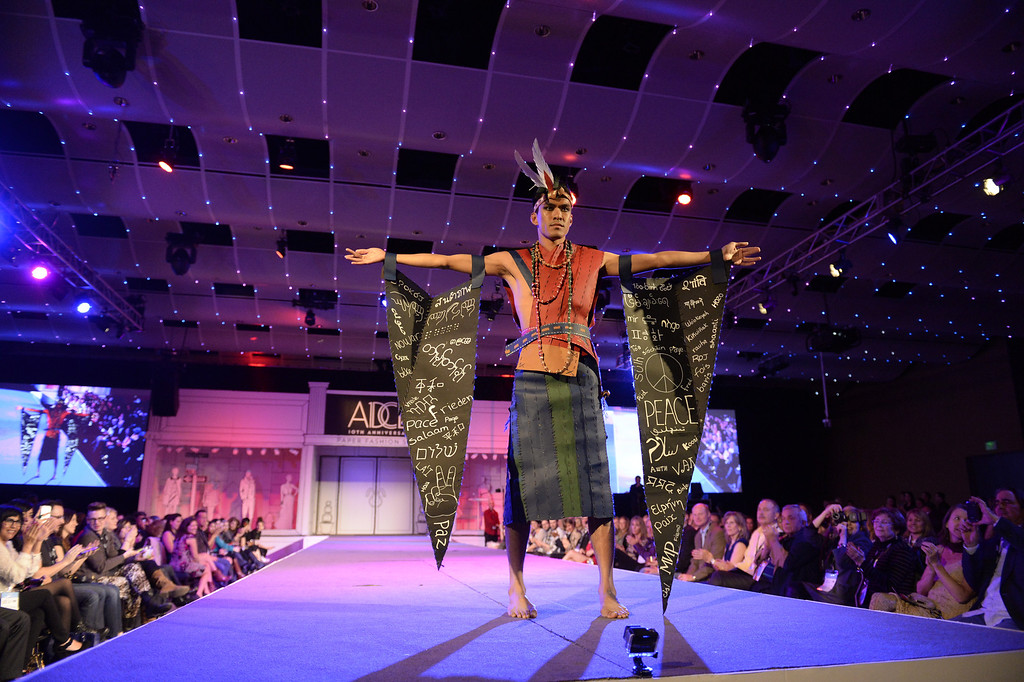. DENVER, CO - MARCH 7 :    One of the creations from the DAVA program in Aurora at the 10th annual  ADCD Paper Fashion Show was held at the Seawell Grand  Ballroom at the Denver Center for Performing Arts on Friday, March 7, 2014. (Denver Post Photo by Cyrus McCrimmon)