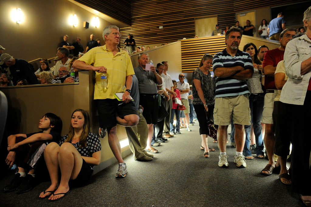 . A packed house for a community meeting for Black Forest fire evacuees in search of current developments from local officials at Palmer Ridge High School Saturday morning, June 15, 2013. (Photo By Andy Cross/The Denver Post)