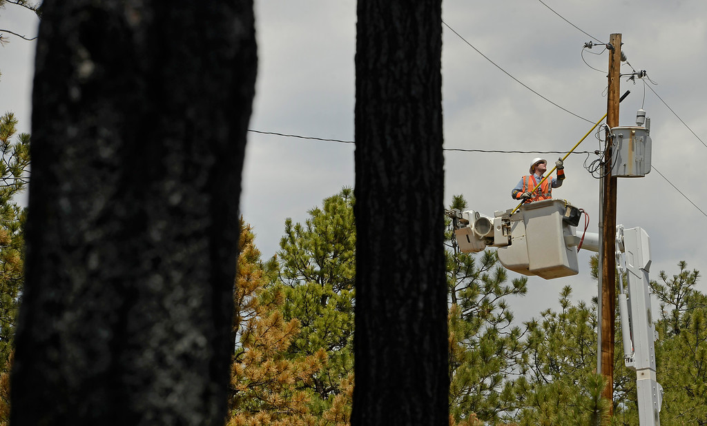 . BLACK FOREST, CO - JUNE 17:   Bryce Myers, a journeyman/lineman with Mountain View Electric Association, repairs overhead electric line inside the Black Forest Fire fire zone in Black Forest on June 16, 2013. The crews are trying to get electricity back to homes that have burned so when residents return they will return to a home with electricity. Photo by Helen H. Richardson/The Denver Post)
