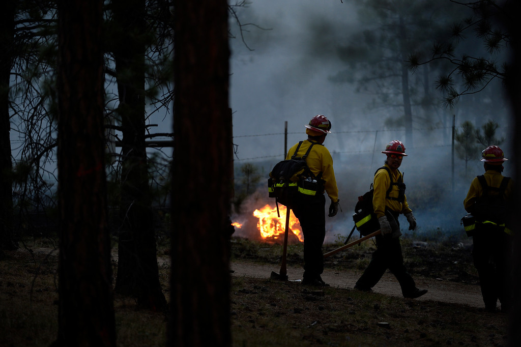 . COLORADO SPRINGS, CO. - June 13: Firefighters back-burn at Black Forest trail head 16 near the corner of Burgess Rd and Buckskin Ln along the edge of the Black Forest Fire Colorado Springs, Colorado. June 13, 2013 Denver, Colorado Springs. (Photo By Joe Amon/The Denver Post)