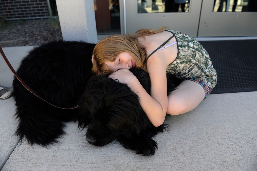 . Black Forest fire evacuee, Ashlee Erick, 11, hugs therapy dog, �Doophous� at the front doors of Palmer Ridge High School after a community meeting Saturday morning, June 15, 2013. Erick\'s family home was destroyed in the fire. (Photo By Andy Cross/The Denver Post)