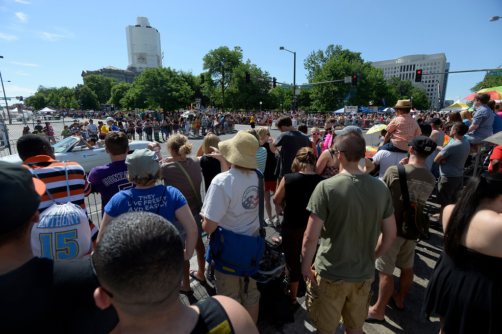 . DENVER, CO. - JUNE 16: Pridefest is the big parade that will wind through downtown Denver June 16, 2013. The color guard this year will include gay vets and active service men and women -- wouldn\'t have happened five years ago. (Photo By John Leyba/The Denver Post)