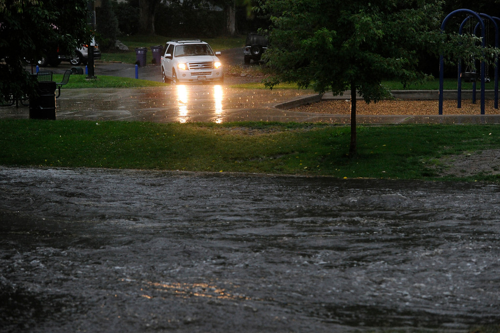 . DENVER, CO - JULY 13:  A swollen  gulch at McWilliams Park near Yale Ave and Fillmore St. in Denver Colorado, July 13, 2013 after a heavy rainstorm. (Photo By Andy Cross/The Denver Post)