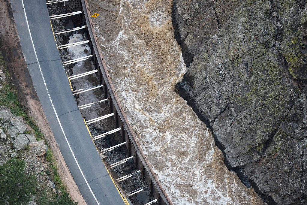 . A large section of Colorado U.S. 34, completely washed out from recent flooding of the Big Thompson River in the Big Thompson Canyon in Larimer County Colorado Saturday morning, September 14, 2013. (Photo By Andy Cross/The Denver Post)