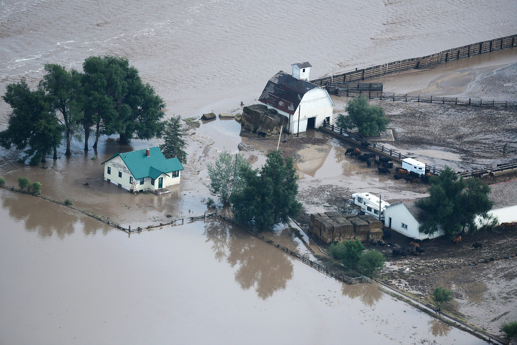 . A flooded farm in Weld County Colorado Saturday morning, September 14, 2103. (Photo By Andy Cross/The Denver Post)