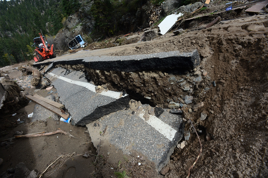 . GLEN HAVEN, CO - SEPTEMBER 30: Main street or Co Road 43 going through the town of Glen Haven, CO is completely gone on September 30, 2013. The road from here to Drake, Co 8 miles down is over 85% destroyed.   (Photo By Helen H. Richardson/ The Denver Post)