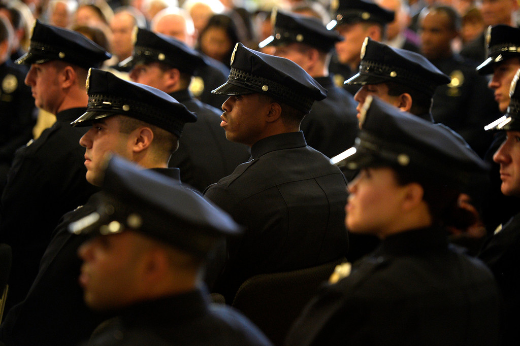 . DENVER, CO. - October 23: Recruits listen to the Chief of Police  Robert White as the Denver Police Department graduates recruits for the first time in five years at the Denver Police Academy. October 23, 2013 Denver, Colorado. (Photo By Joe Amon/The Denver Post)