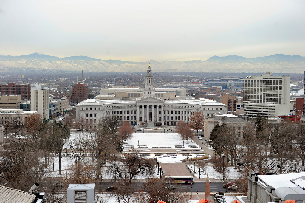 . Looking west to the City and County building from the scaffolding that surrounds the Capitol dome Friday, November 22, 2013.  (Photo by Kathryn Scott Osler/The Denver Post)