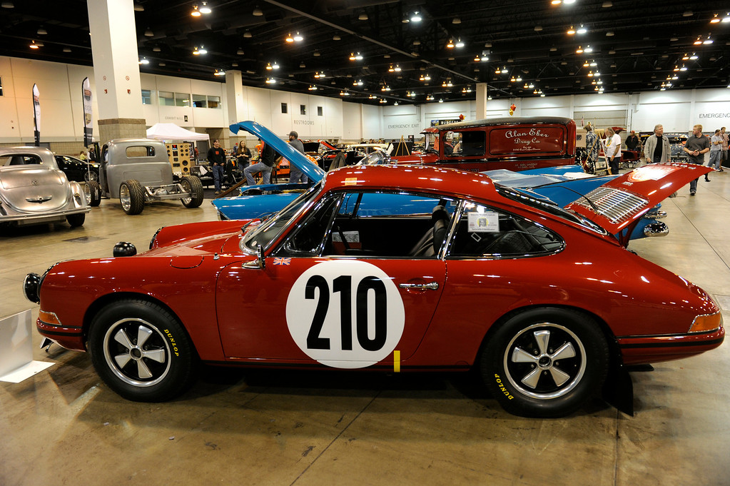 . A 1967 Porsche 911 is on display at the O\'Reilly Auto Parts Creme de la Chrome Rocky Mountain Auto Show takes place at the Colorado Convention Center downtown and runs through Sunday, Dec. 1, 2013. (Photo by Kathryn Scott Osler/The Denver Post)