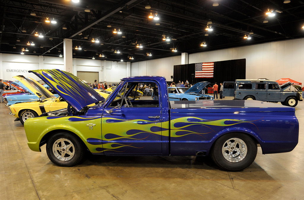. A 1967 C10 Chevy Pick Up is on display during the O\'Reilly Auto Parts Creme de la Chrome Rocky Mountain Auto Show takes place at the Colorado Convention Center downtown which runs through Sunday, Dec. 1, 2013. (Photo by Kathryn Scott Osler/The Denver Post)