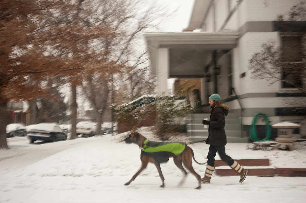 . A woman walks her dog along E 13th Ave. in Denver as snow continues to fall on Wednesday morning, December 4, 2013. (Photo By Patrick Traylor/The Denver Post)