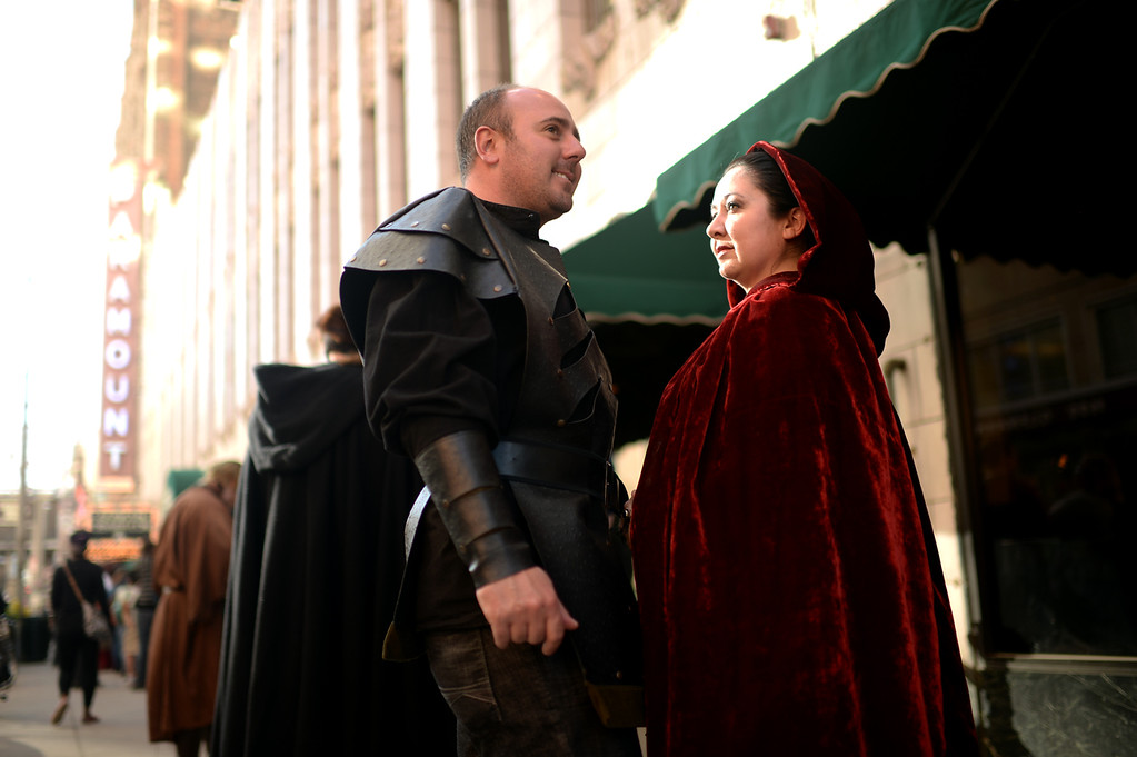 . Jimmy Vigil, left, and his wife Mykel of Denver are in front of Paramount Theatre Denver for HBO\'s Game of Thrones premium show. Denver, Colorado. March 27. 2014.  (Photo by Hyoung Chang/The Denver Post)