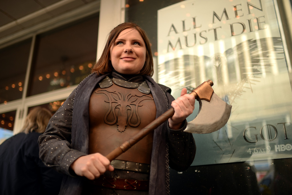 . Kate Tomlinson of Denver is in front of Paramount Theatre Denver for HBO\'s Game of Thrones premium show. Denver, Colorado. March 27. 2014. (Photo by Hyoung Chang/The Denver Post)