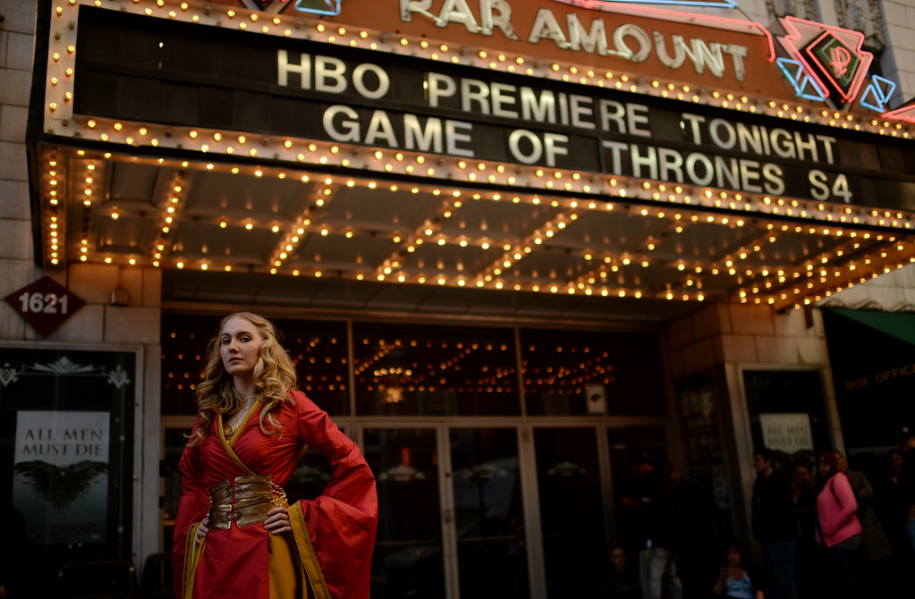 . Lily Rutledge -Ellison of Denver is in front of Paramount Theatre Denver for HBO\'s Game of Thrones premium show. Denver, Colorado. March 27. 2014. (Photo by Hyoung Chang/The Denver Post)