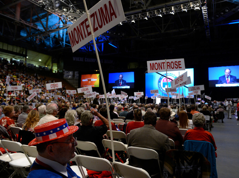 . The Colorado Republican Party holds its state assembly for statewide candidates running for office at the Coors Event Center on the University of Colorado campus in Boulder. (Kathryn Scott Osler, The Denver Post)