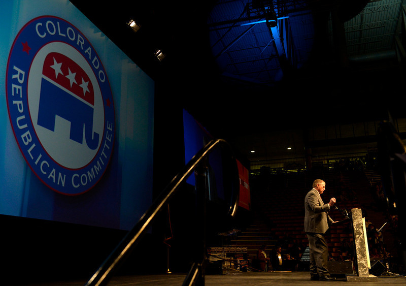 . Tom Janich stands solo on stage as he makes his case to be a Republican candidate on the ballot for the United States Senate. The Colorado Republican Party holds its state assembly for statewide candidates running for office at the Coors Event Center on the University of Colorado campus in Boulder. (Kathryn Scott Osler, The Denver Post)