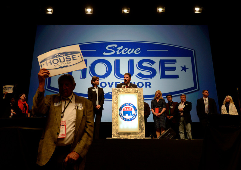 . Steve House stands with his supporters as he makes his case to be a Republican candidate on the ballot for the governor of Colorado. The Colorado Republican Party holds its state assembly for statewide candidates running for office at the Coors Event Center on the University of Colorado campus in Boulder. (Kathryn Scott Osler, The Denver Post)